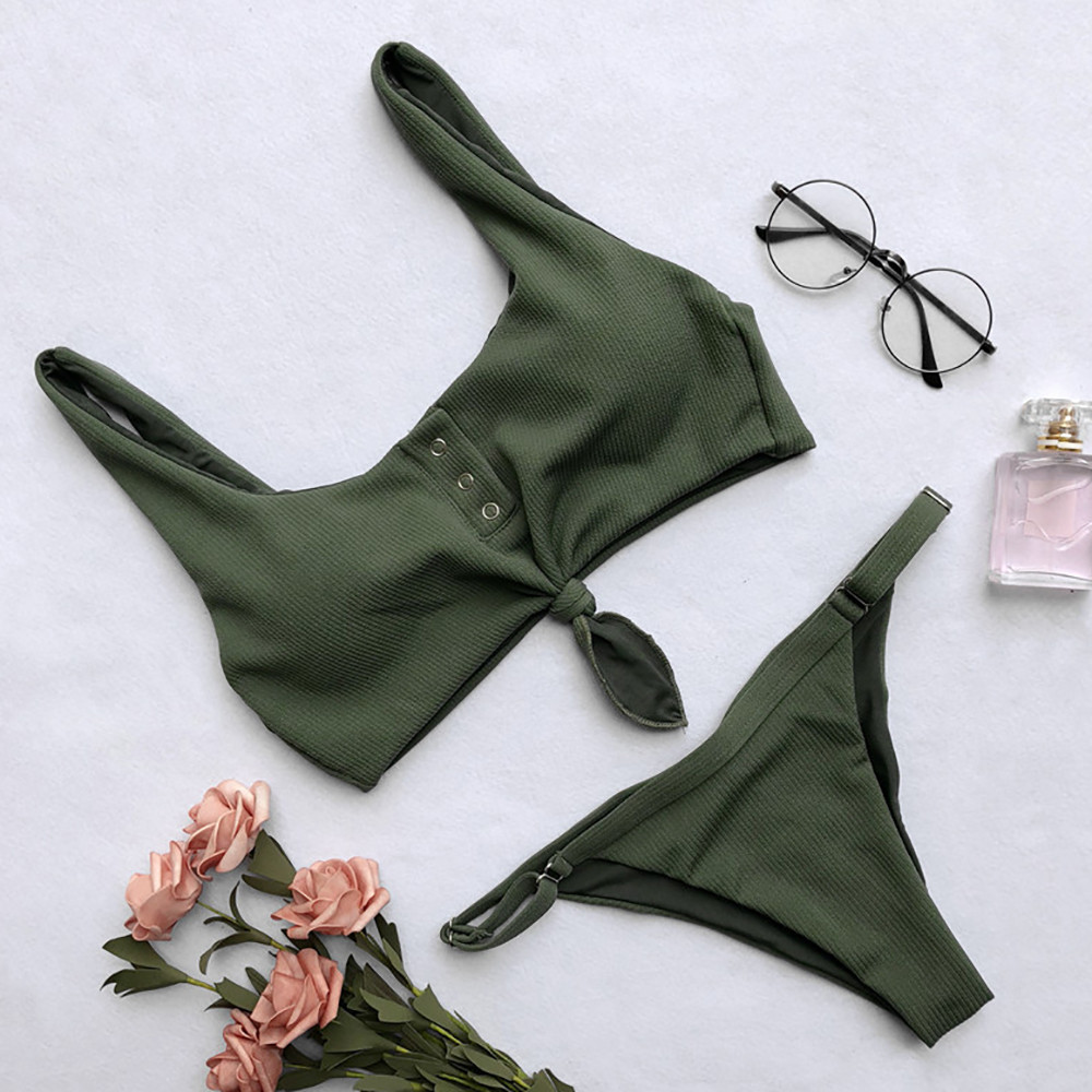 <font><b>Sexy</b></font> Summer <font><b>Bikinis</b></font> <font><b>Set</b></font> <font><b>Sexy</b></font> Button Swimwear Solid Women Push Up Swimsuit Stylish Adjustable Thong Summer biquinis feminino 2020 image