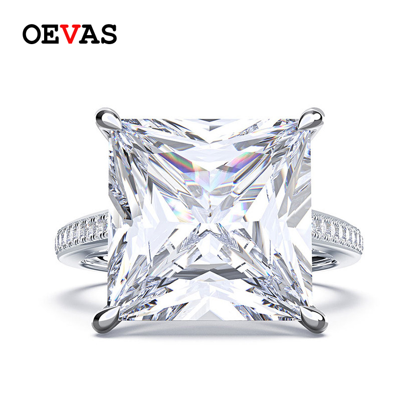 OEVAS 100% 925 Sterling Silver Square Moissanite Diamonds Gemstone Engagement Wedding Couple Rings Jewelry Wholesale Size 5-12