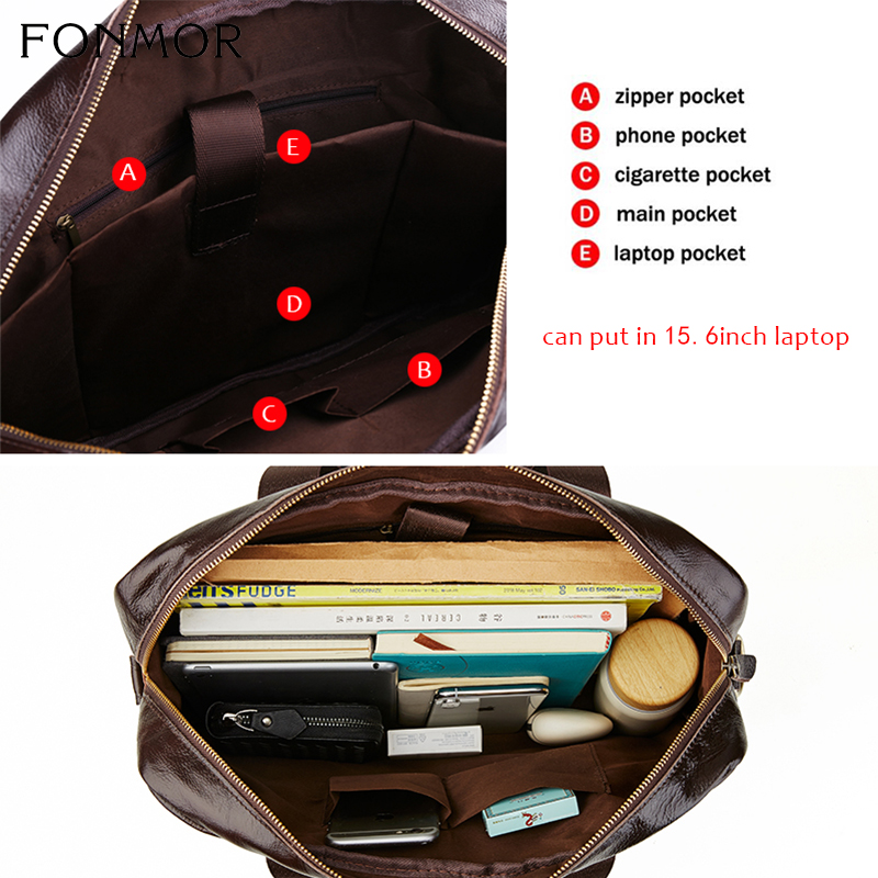 Image 5 - Fonmor Genuine Leather Briefcase For Men Cowhide Big Totes  Handbag Male Brown Business 14 laptop Hand Bags With Zipper  PocketTop-Handle Bags