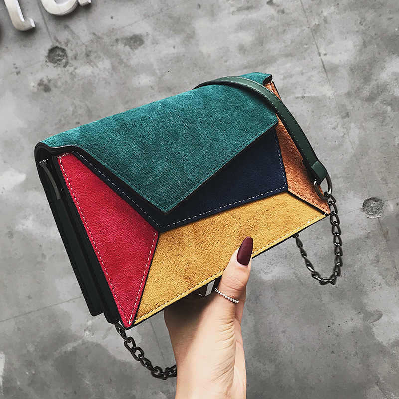 Color Stitching Single Shoulder Bag Women 2019 Winter Square Leather Small Crossbody Bags For Women Fashion Brand Bag