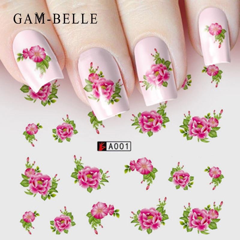 GAM-BELLE 1 Sheet DIY Flower Slider Water Transfer Sticker Nail Art Pink Rose Flower Decals Women Beauty Makeup Wraps Nail Decor