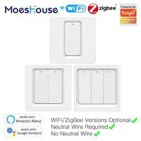 Moeshouse WiFi ZigBee akıllı Push Button anahtarı nötr gerekli 2MQTT kurulum Tuya APP kontrolü Alexa Google ev ile 2/3 yollu