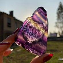 Pierre Fluorite en Cristal de hibou, pierres précieuses naturelles, Cristal d'île, Wicca, Cristaux de guérison, décor, Quartz