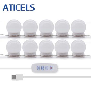 W stylu Hollywood USB Vanity Lights 10 żarówek LED jasność regulowane lustro do makijażu światło do toaletka tanie i dobre opinie ATICELS W górę Bed room Foyer Badania Klin Dotykowy włącznik wyłącznik Z tworzywa sztucznego Żarówki led Nowoczesne