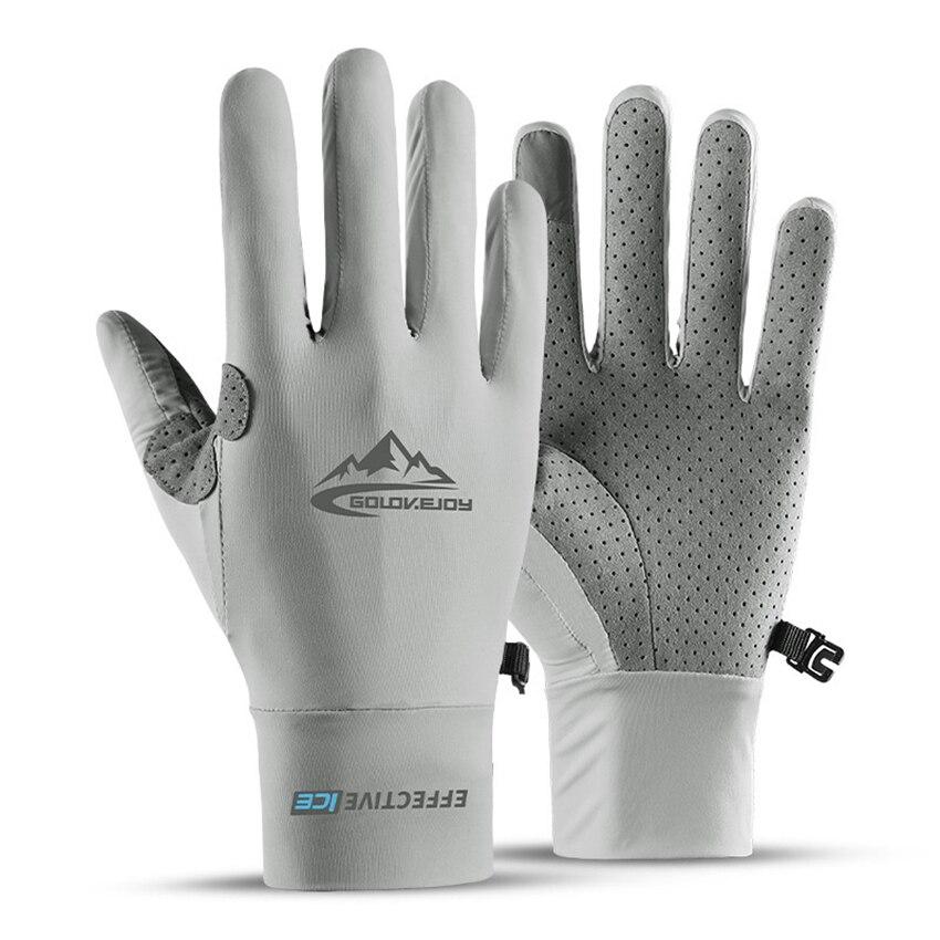 Эластичные летние перчатки для мужчин с сенсорным экраном, противоскользящие, с защитой от ультрафиолета, для верховой езды, для рыбалки, дышащие перчатки, солнцезащитные, ледяные шелковые прохладные тонкие перчатки Мужские перчатки      АлиЭкспресс
