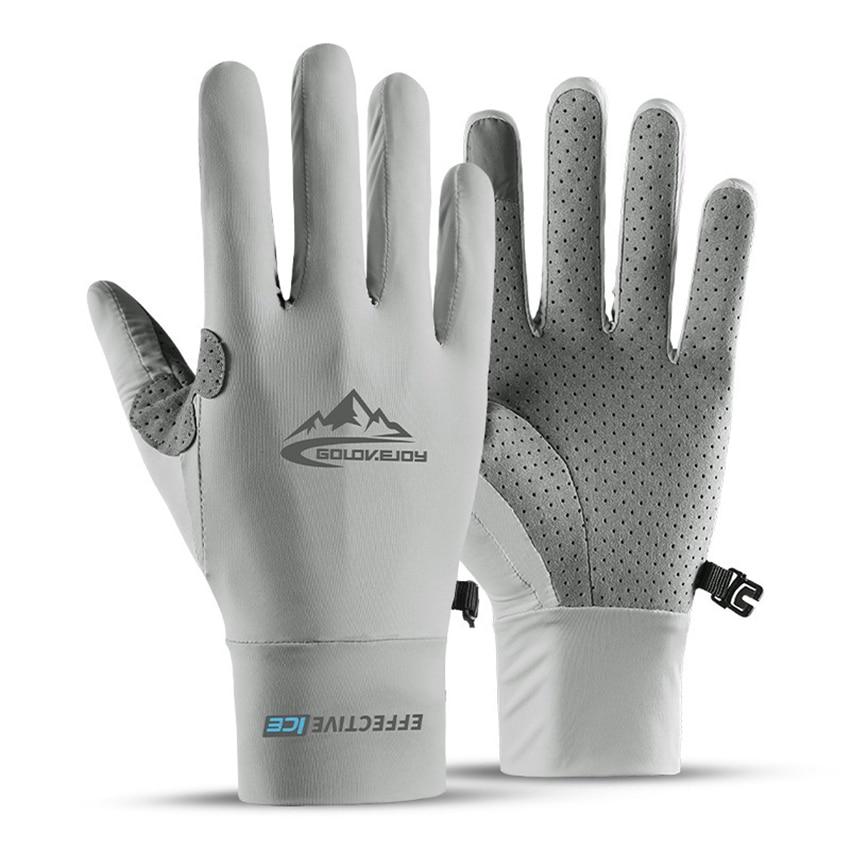 Elastic Summer Gloves Men Touch Screen Anti-slip Anti-UV Riding Fishing Breathable Gloves Sun-proof Ice Silk Cool Thin Gloves