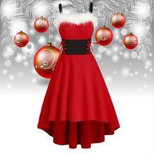 Girls Cosplay Festival Dresses Costume Make-Up-Outfit Christmas Princess Xmas Sling Elf