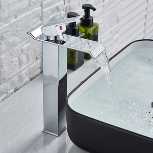 Image 3 - Brushed Nickel Waterfall Basin Faucet Single Lever Bathroom Vessel Sink Tap Deck Mounted Brass Lavatory sink Mixer Basin Tap