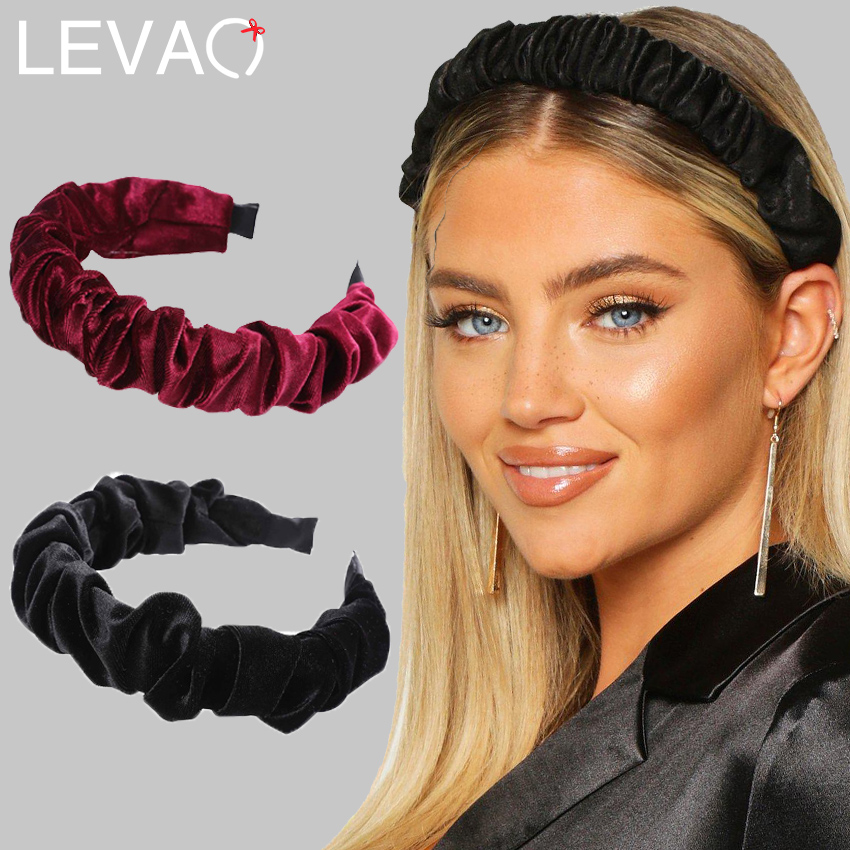 Levao Ruched Velvet Headband Winter Plated Turban Headband For Women Hair Bezel Simple Hairband Non-Slip Hair Accessories