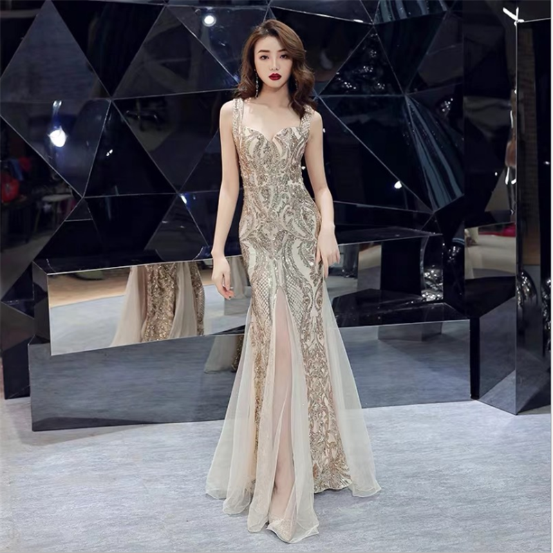 Golden Sequined Evening Dress 2020 Elegant Noble Sparkle Ladies Annual Conference Lace Formal Dresses Zipper Backless Prom Gown