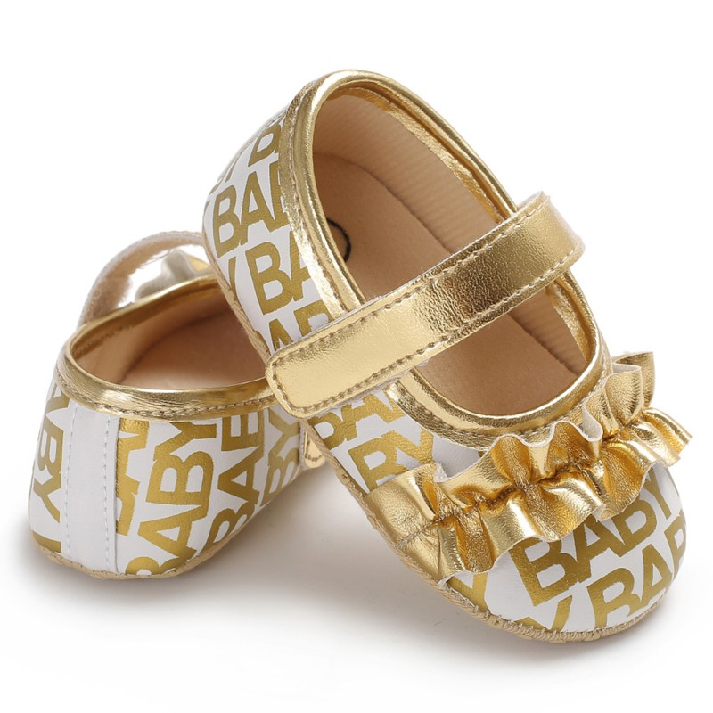Shiny Gold Silver Style Fungus Folds Princess Shoes Baby Toddler First Walker
