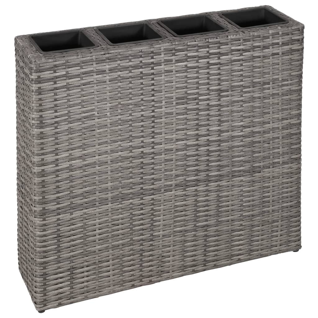VidaXL Garden Planter With 4 Pots Poly Rattan Grey