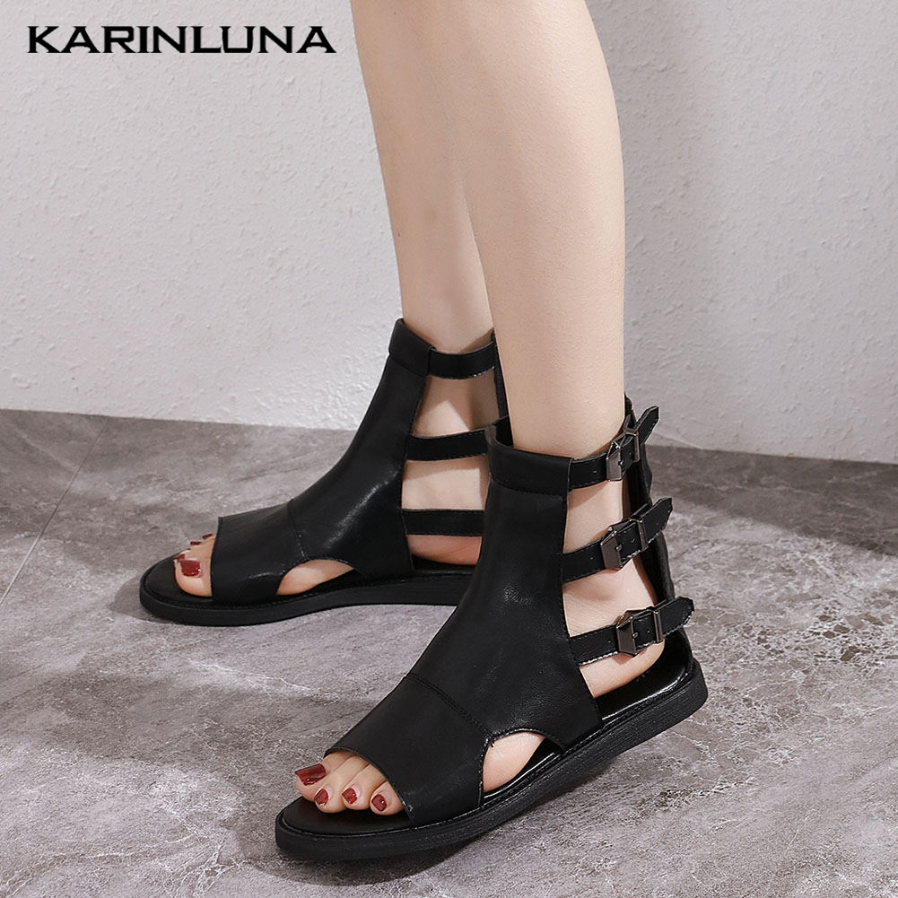 Karinluna  New Wholesale Leisure Flat With Summer Zipper Buckles Gladiator Women Shoes Woman Sandals Female