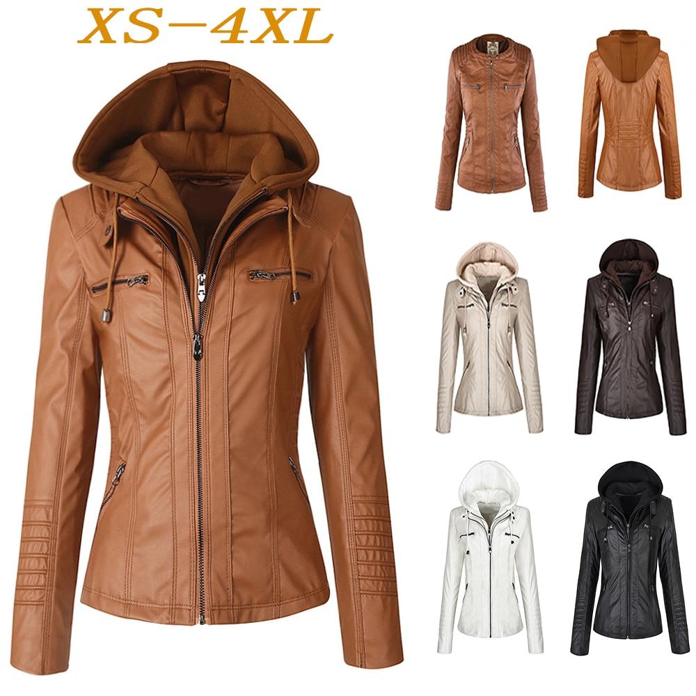Faux   Leather   Jacket Winter Coat 2019 Women Gothic Motorcycle Hooded Zipper Women Jacket Coat Collar PU   Leather   Black Outwear