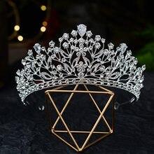 Diademas barrocas de lujo para mujer, Tiaras de boda con hojas de cristal de Color plateado, corona con diamantes de imitación, diadema, accesorios para el cabello de boda