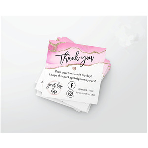 Custom Modern Packaging Insert Card MINI Pink Gold Thank You For Your Order Small Business Insert card social media card