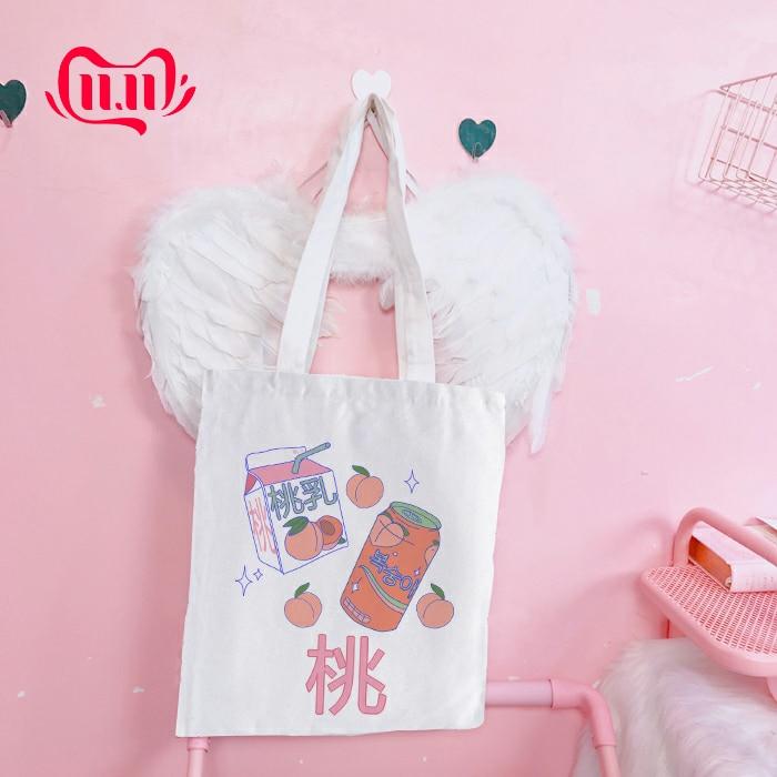 Korean Japanese Aesthetic Students School Bags Handbags Fashion Women Canvas Cloth Eco Reusable Tote Bag Bolsa De Compras