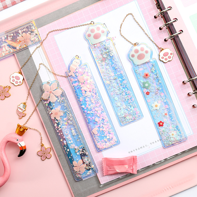 Creative Cartoon Bookmark Drawing Ruler Cute Girl Cherry Flower Quicksand Plastic Ruler Measuring Straight Ruler Gift Stationery