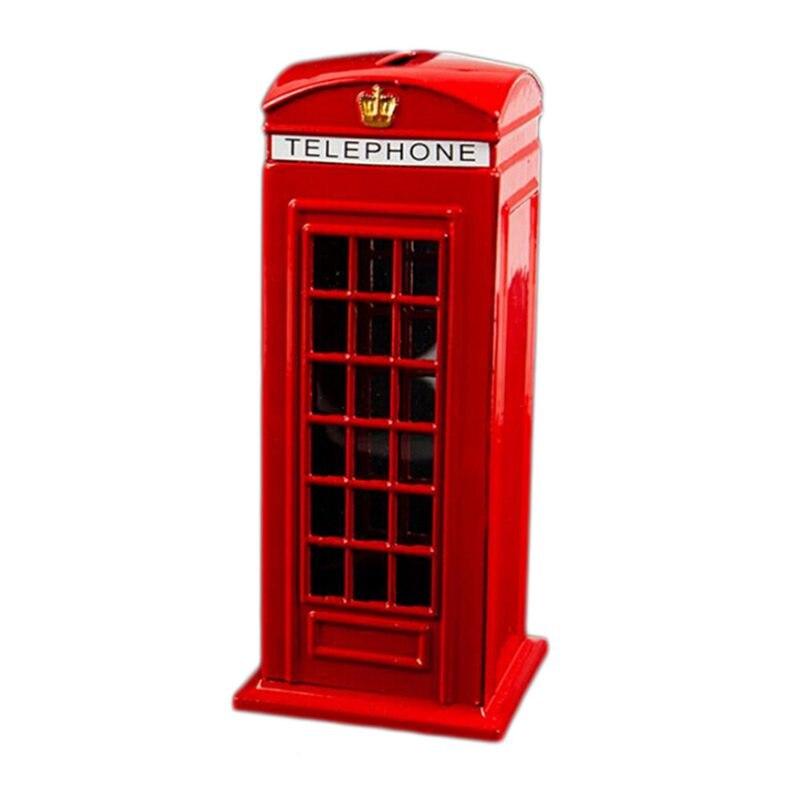 Metal Red British English London Telephone Booth Bank Coin Bank Saving Pot Piggy Bank Red Phone