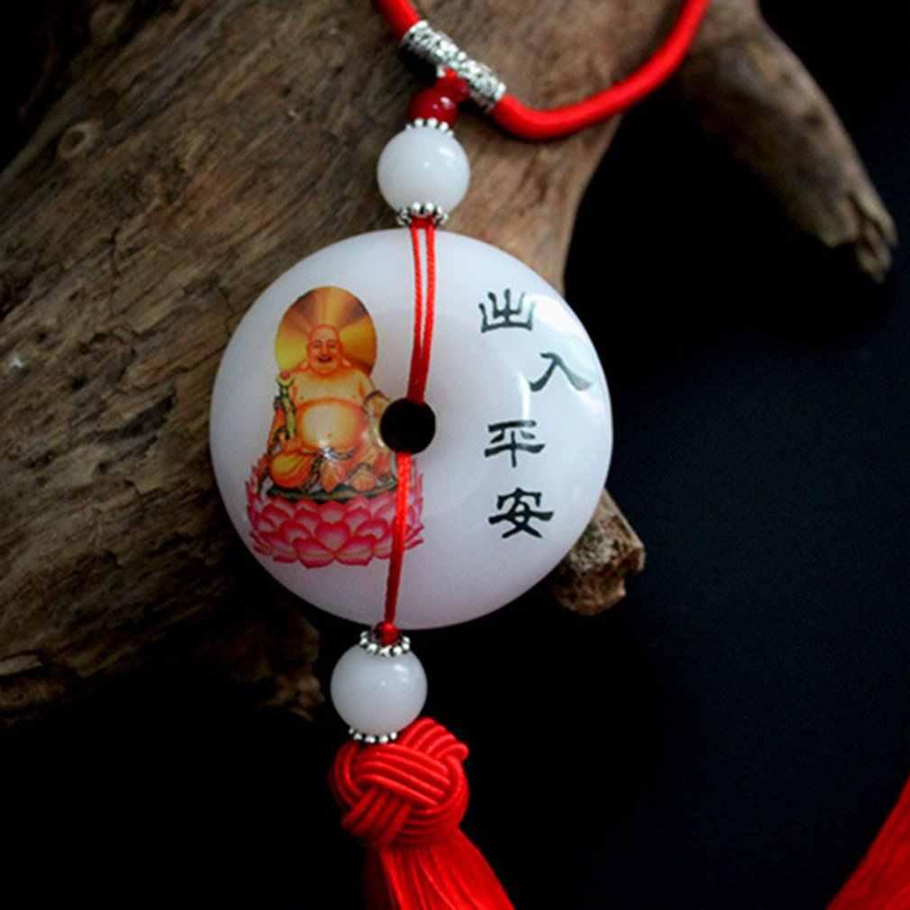 Auto Pendenti con gemme e perle, Auto Fibbie, Imitazione Giada Guanyin Ornamenti, Buddha Maitreya Ciondolo, Accessori Per Auto, sicuro Ornamenti Auto