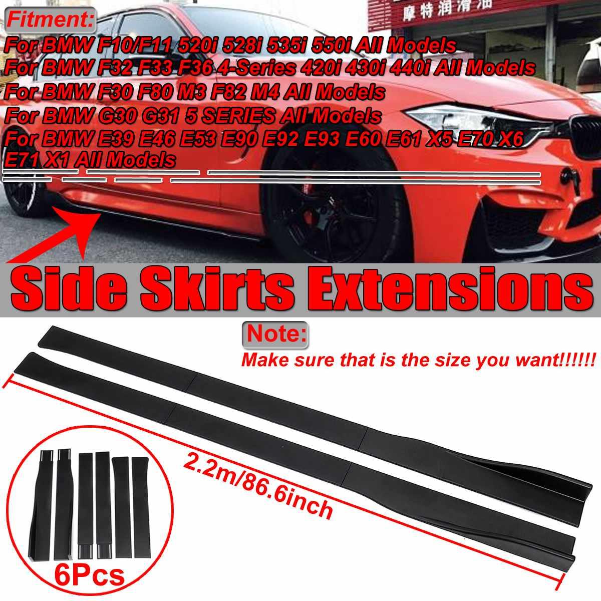 Extensions de jupe latérale de voiture universel noir mat 2.2m pour BMW F10/F11 520i F32 F30 F80 E92 X5