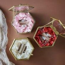 Латунная коробка для сокровищ из прозрачного стекла золотая