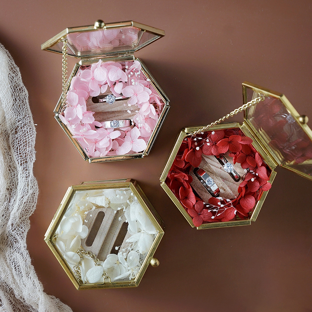 Custom Glass Treasure Box Gold Engagement Ring Bearer Box Personalized Wedding Bands Ring Pillow Rustic Ring Holder Flower Box