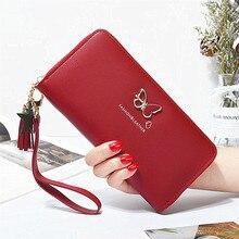 Модный женский кошелек с бабочкой на запястье, чехол для телефона, длинный отдел, карман для денег, сумочка, Женский кошелек, держатель для карт