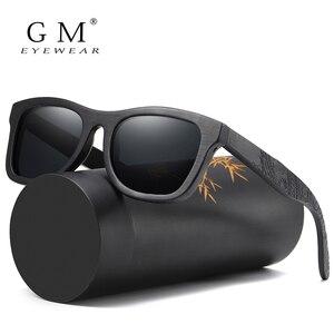 Image 1 - GM Holz Sonnenbrille Männer Marke Designer Polarisierte Fahren Bambus Sonnenbrille Holz Gläser Rahmen Oculos De Sol Feminino S1610B