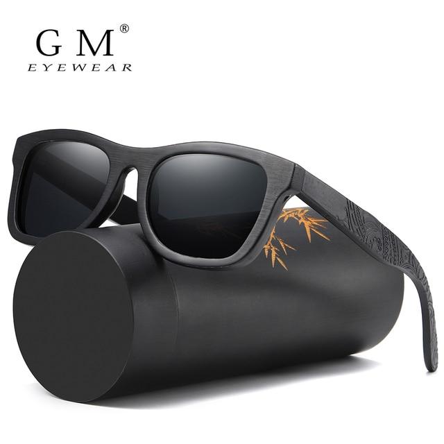 GM Holz Sonnenbrille Männer Marke Designer Polarisierte Fahren Bambus Sonnenbrille Holz Gläser Rahmen Oculos De Sol Feminino S1610B