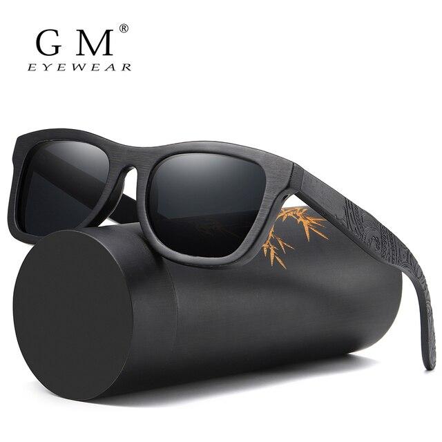 Мужские солнцезащитные очки GM Wood, брендовые дизайнерские поляризованные бамбуковые солнцезащитные очки для вождения, деревянные очки с оправой, Oculos De Sol Feminino S1610B