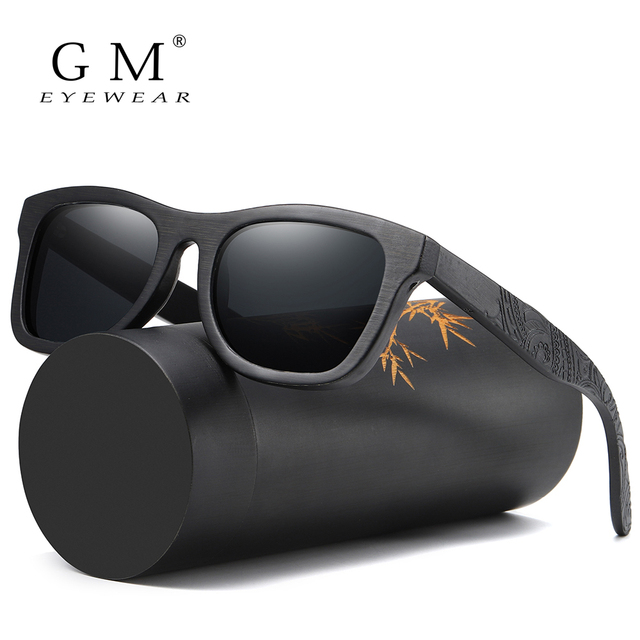 GM עץ משקפי שמש גברים מותג מעצב מקוטב נהיגה במבוק משקפי שמש עץ משקפיים מסגרות Oculos דה סול Feminino S1610B