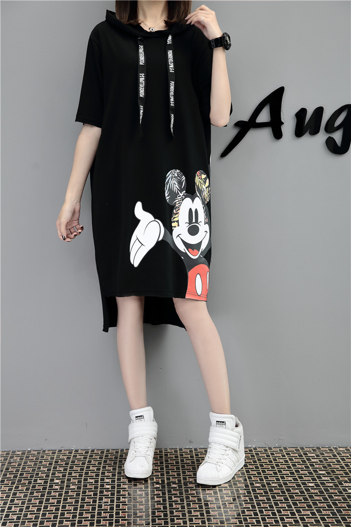 H5278498c417b411eadef735bf66ed958N - New Runway short sleeve Hooded Sweatshirt dress casual mickey cartoon printed women femme oversize dresses vestidos