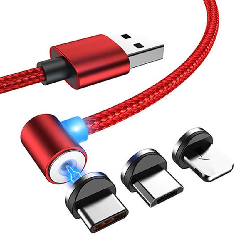 Veloce di Ricarica L-Linea Cavo di Ricarica Magnetico, 90 gradi Cavo LED per iPhone X 8 7 6 Plus e Micro Cavo USB e USB Tipo-C USB C