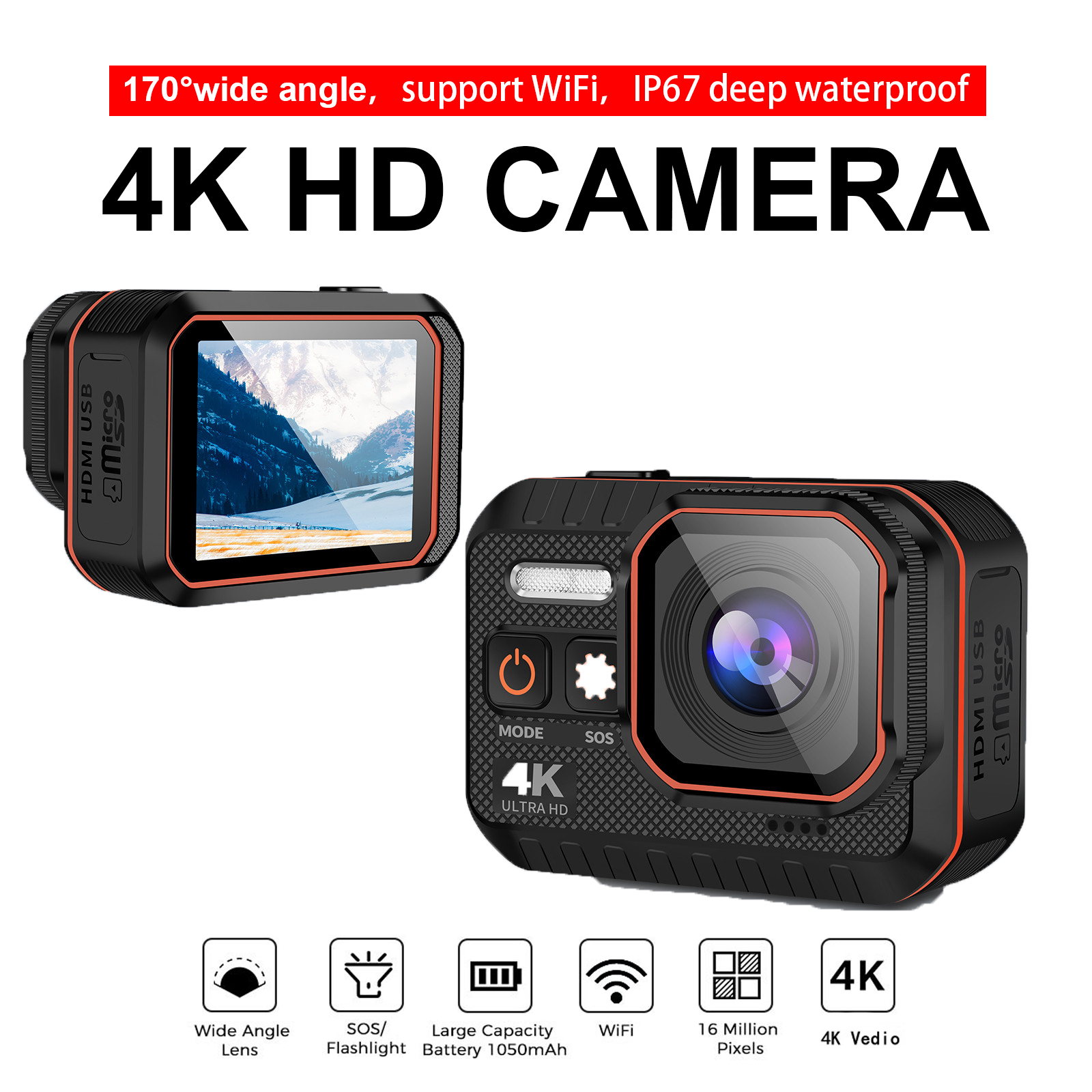Экшн-камера 4K HD с пультом дистанционного управления, водонепроницаемая Спортивная камера, записывающее устройство, 4K Спортивная камера, шл...