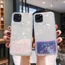 Glitter Liquid Silicone Case For Xiaomi POCO M3 Redmi 9 Power Coque Bling Dynamic Quicksand Star Love heart Cover