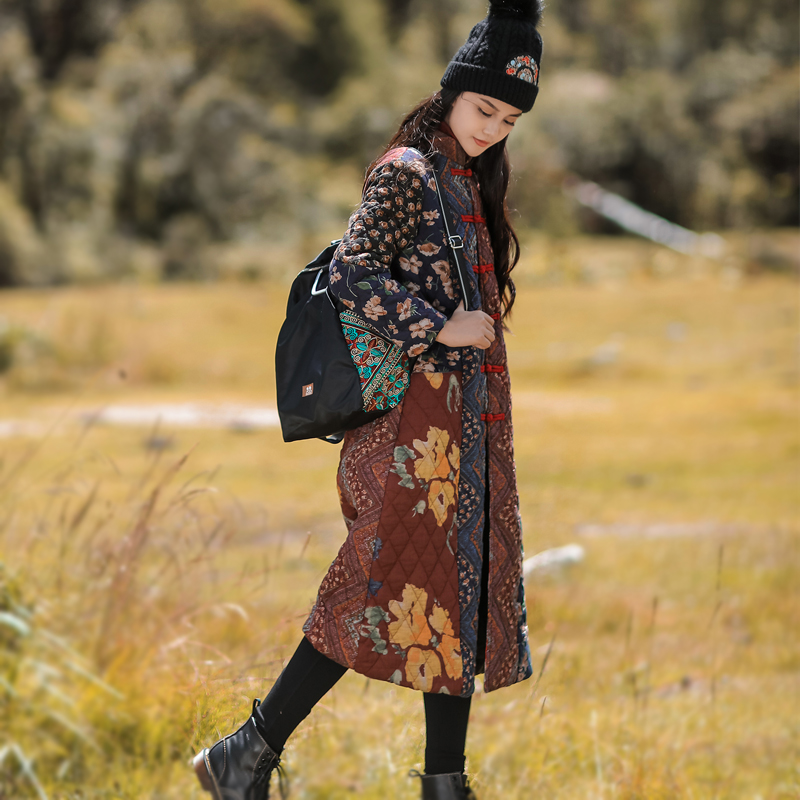 Hiver chinois Vintage design Trench manteau épissage Robe manteau chine traditionnel coton rembourré longue veste vêtements de sport quotidiens
