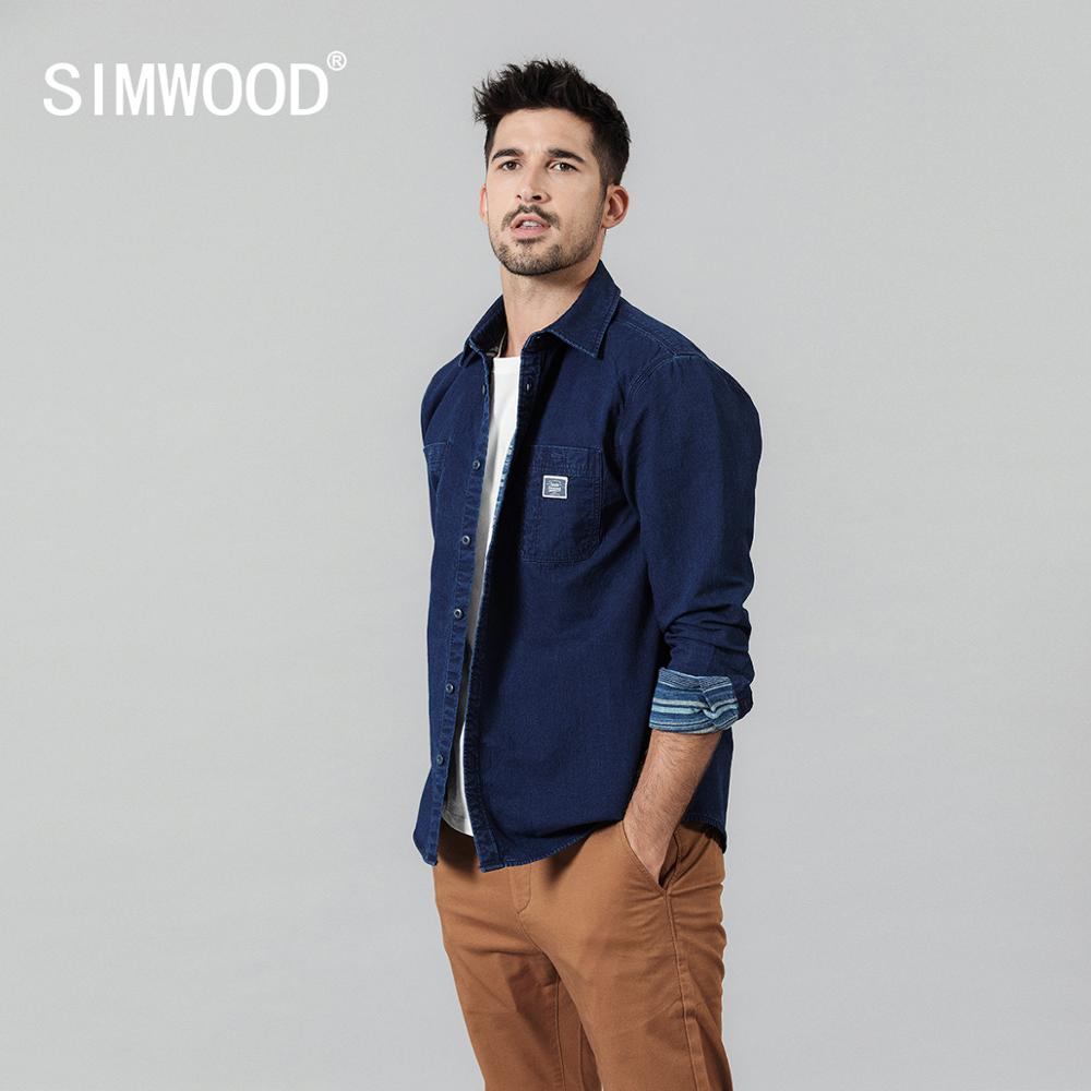 SIMWOOD 2020 Spring New Denim Shirts Men Striped Linner Thick Casual Outerwear Plus Size 100% Cotton Shirts Clothing SI980607