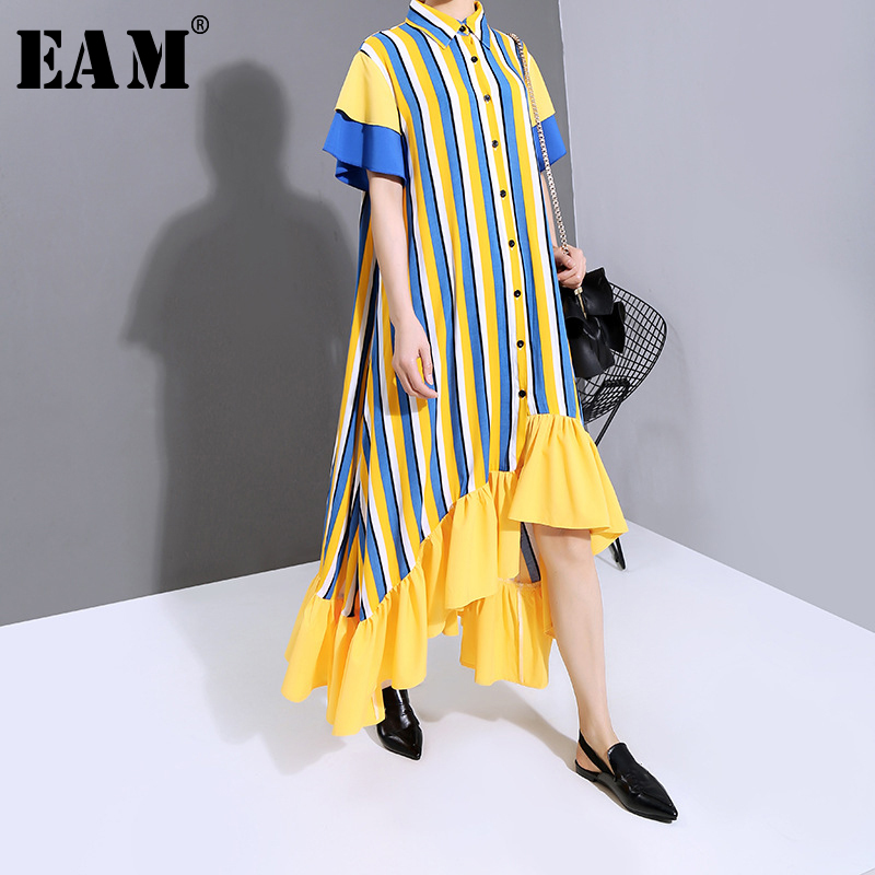 [EAM] Women Yellow Striped Ruffles Big Size Shirt Dress New Lapel Short Sleeve Loose Fit Fashion Spring Summer 2020 1T860 1T860
