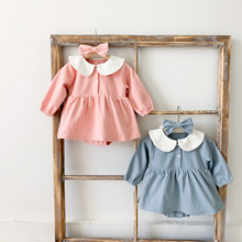 2021 new style babys girls patchwork romper with hairband cotton full sleeve spring fashion babys jumpsuit 6-24 month cheap coffigrez CN(Origin) Female 0-6m 7-12m 13-24m Turn-down Collar Covered Button Rompers A806 Fits true to size take your normal size