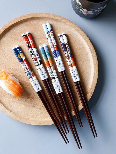 Фото 5/20 пар портативные японские палочки для еды из натурального цена