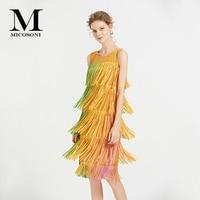 Micosoni Runway Fashion 2019 Summer New Fashion Women's Cascading Tassel Decorative Pleated Sleeveless Dress Green Yellow Pink