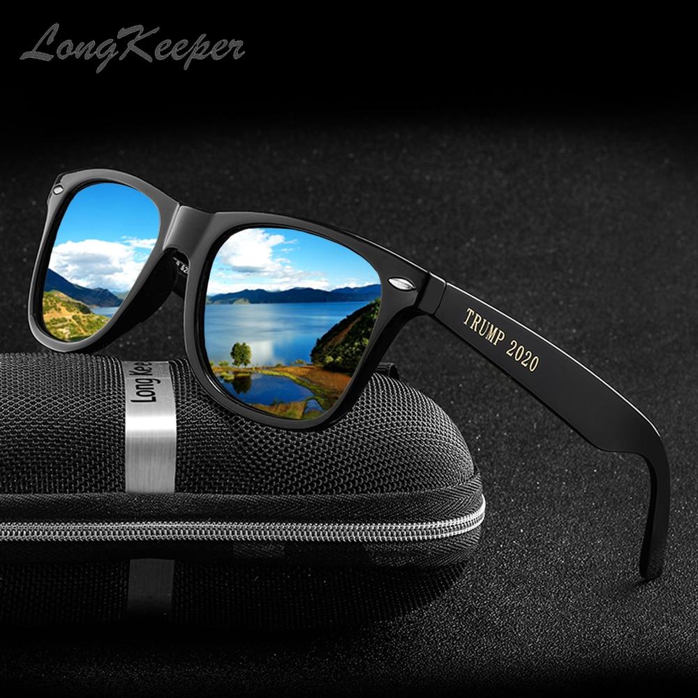 LongKeeper TRUMP 2020 polarize güneş gözlüğü erkekler kadınlar marka tasarım kare güneş gözlüğü ayna Lens UV400 Shades óculos masculino