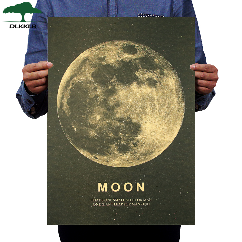 DLKKLB Moon Classic Poster A Great Step For Humans Kraft Paper Vintage Style Wall Sticker 51x36cm Home Bar Cafe Decor Painting