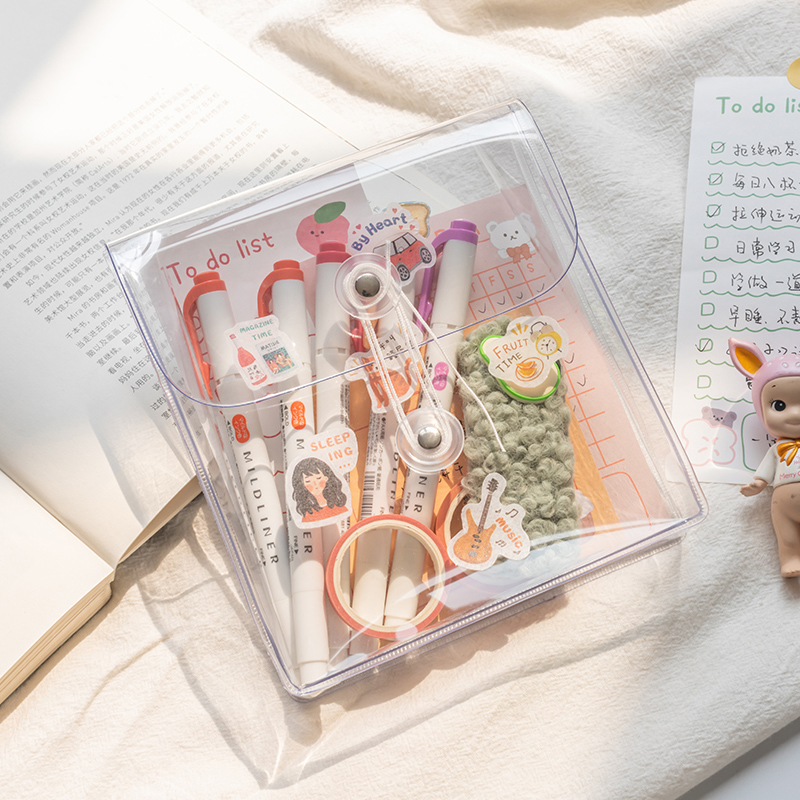 Ins Wind Transparent Winding Storage Bag Large Capacity Stationery Notes Hand Account Material Storage Bag Office Supply