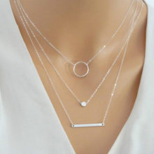 Fashion Multilayer Necklace Chain Pendant Necklace Metal Rod Circles Geometric Round Chokers Necklaces for Women Gift Jewelry(China)