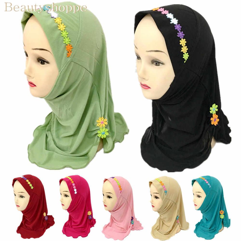 Girls Kids Muslim Beautiful Hijab Islamic Arab Scarf Shawls Flower