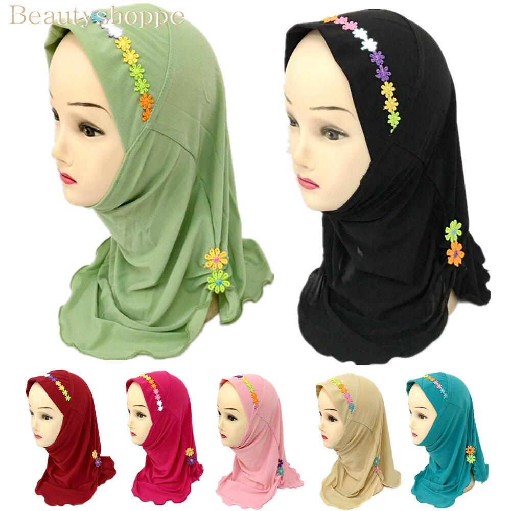 Мусульманский красивый хиджаб для девочек, шарф в арабском стиле, шали с цветочным узором