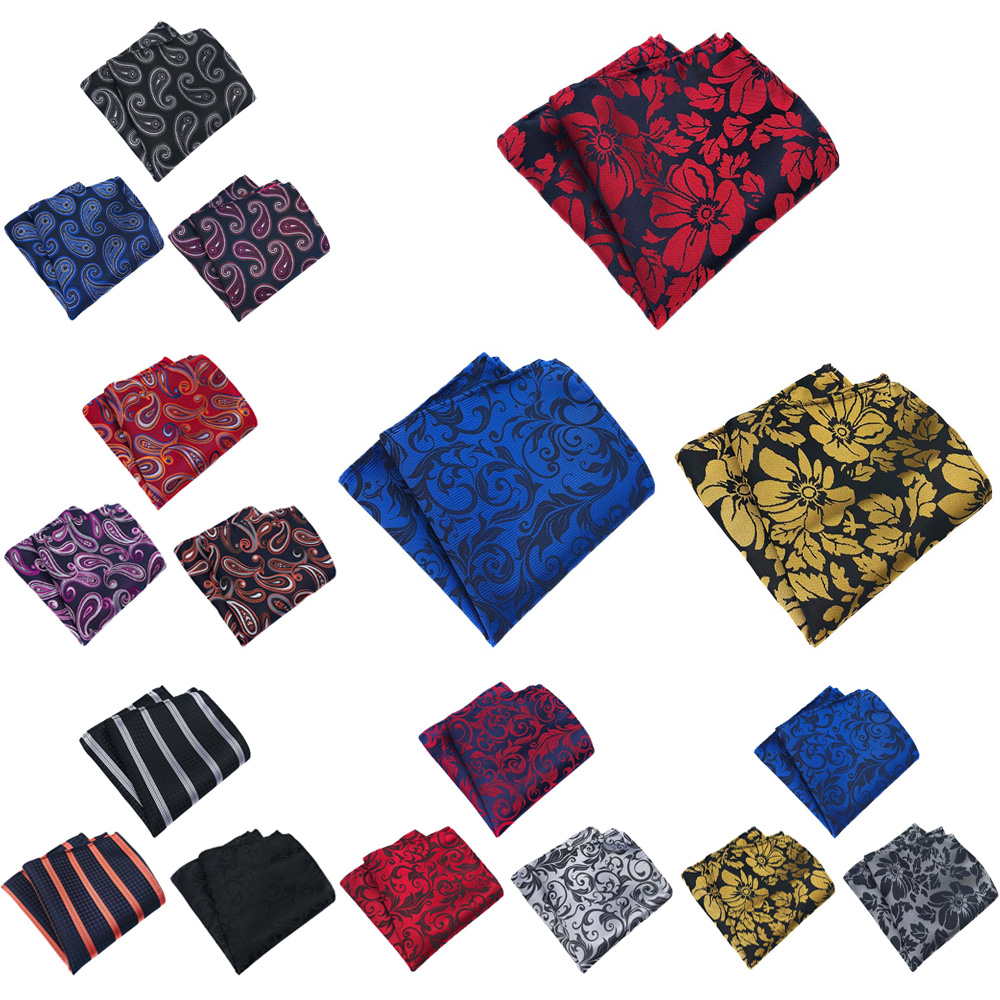 3 Packs Mens Paisley Flower Pocket Square Handkerchief Wedding Stripe Hanky HZTIE0360