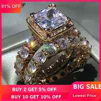 Choucong 2018 bague Vintage 5A zircon Cz or Rose rempli 925 argent fiançailles alliance anneaux ensemble pour les femmes bijoux de mariée
